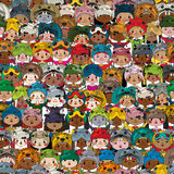 Happy kids pattern. Seamless pattern with children wearing funny masks in colors Royalty Free Stock Photos