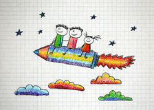 Happy kids with pencil shaped rocket Royalty Free Stock Photo