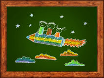 Happy kids with pencil shaped rocket. Green blackboard with frame and kids drawing. Color chalks vector illustration