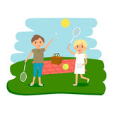Happy kids picnic resting. Boy and girl outdoors on summer picnic. Vector Illustration. stock illustration
