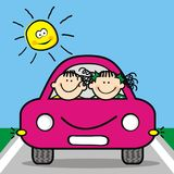 Happy kids at pink car Royalty Free Stock Photography