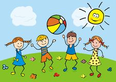 Happy kids play with a balloon on the meadow. Vector illustration. Happy kids play with a balloon on the meadow. Children throw the ball. Vector illustration Royalty Free Stock Photos