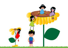 Happy kids. Play in garden together royalty free illustration