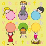 Happy kids playing. Bottom card of letters children Stock Photo