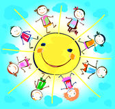 Happy kids playing around sun royalty free illustration