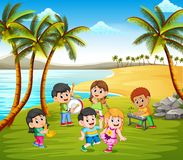 Happy kids playing in band on the beach royalty free illustration