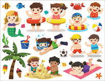 Happy kids playing on the beach and swimming. royalty free illustration