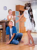 Happy kids playing with blindfold Royalty Free Stock Photos