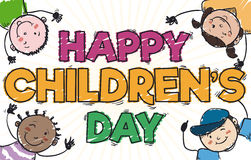 Happy Kids Playing and Celebrating in Children`s Day, Vector Illustration. Banner in doodle style with cute multi-ethnic kids design to celebrate Children`s Day Stock Photo