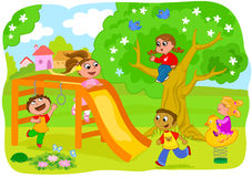 Happy kids playing in the countryside royalty free stock images