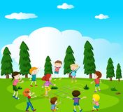 Happy kids playing hopscotch in the park. Illustration Stock Photo