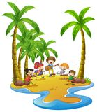 Happy kids playing instruments on island. Illustration Stock Photography