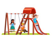 Happy kids playing on the kindergarten playground vector illustration