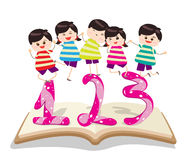 Happy Kids Playing with number and on book Royalty Free Stock Photography
