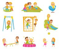 Happy kids playing outdoors set, children on a playground vector Illustrations on a white background. Happy kids playing outdoors set, children on a playground Royalty Free Stock Photos