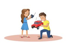 Happy kids playing with radio controlled cars. RC model. Cartoon vector illustration isolated on white background. Happy kids playing with radio controlled cars vector illustration