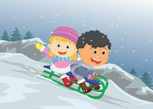 Happy kids playing sledge. Vector illustration of happy kids playing sledge Royalty Free Stock Photos