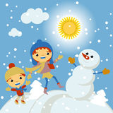 Happy kids playing with snow retro christmas card. Vector Royalty Free Stock Photos