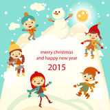 Happy kids playing with snow retro christmas card. Vector illustration. Stock Photos
