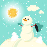 Happy kids playing with snow retro christmas card. Vector illustration. Stock Images