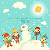 Happy kids playing with snow retro christmas card. Vector illustration. Stock Photo