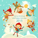 Happy kids playing with snow retro christmas card. Vector illustration. Royalty Free Stock Image