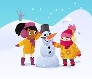 Happy kids playing with snowman. Funny little girs on a walk in the winter outdoors. Children building snow man playing vector illustration
