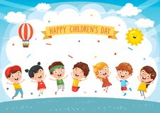 Happy Kids Playing Vector Illustration. Eps 10 stock illustration