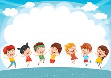 Happy Kids Playing Vector Illustration. Eps 10 Stock Images