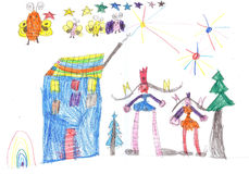 Happy kids playing and  watching fireworks. Child`s drawing. Child`s drawing happy kids playing and watching fireworks Royalty Free Stock Image