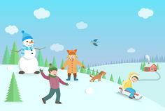 Happy kids playing winter games. Winter landscape with forest an. D hills. Flat style illustration Stock Image