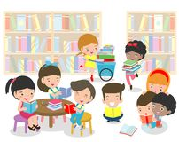 Happy kids reading book in a library ,cute children reading books, Happy Children while Reading Books education concept. Back to school Vector Illustration royalty free illustration