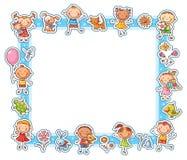 Happy Kids Rectangular Frame Royalty Free Stock Photography