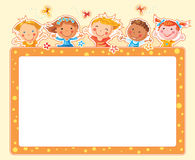 Happy Kids Rectangular Frame Royalty Free Stock Photo