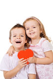 Happy kids with red heart Royalty Free Stock Image