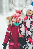 Happy kids after Reindeer riding royalty free stock images
