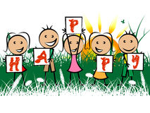 Happy Kids Represents Positive Youths And Youngster. Happy Kids Meaning Youngster Positive And Fun Stock Photography