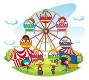 Happy kids riding on ferris wheel. Illustration Royalty Free Stock Photography