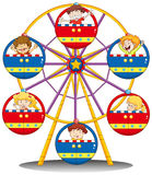 Happy kids riding the ferris wheel. Illustration of the happy kids riding the ferris wheel on a white background Royalty Free Stock Photos