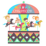 Happy kids riding merry go round royalty free illustration