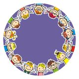 Happy kids, round postcard, vector illustration Royalty Free Stock Photography