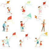 Happy kids running with kite. Parents help children run a kite, a fun family vacation. Cartoon detailed colorful Illustrations isolated on white background Royalty Free Stock Photo