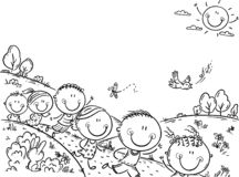 Happy kids running outdoors on a summer day, background with a copy space. Happy kids running outdoors on a summer day, black and white background with a copy stock illustration
