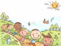Happy kids running outdoors on a summer day, colorful background with a copy space stock illustration