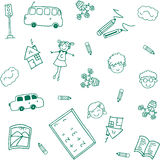 Happy kids school doodle art Royalty Free Stock Photo