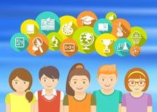 Happy Kids and School Icons Stock Image