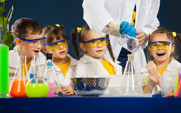 Happy kids with scientist doing science experiments in the laboratory. Group happy kids with scientist doing science experiments in the laboratory. Science and royalty free stock image