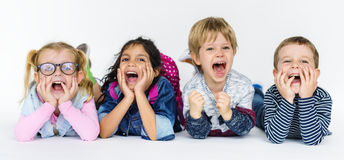 Happy Kids Shouting Together Concept stock photography