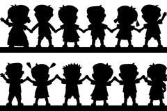 Happy Kids Silhouettes Stock Images