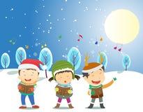 Happy kids singing Christmas Carols vector illustration